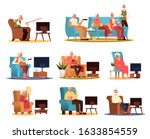 elderly people and couple... | Shutterstock .eps vector #1633854559