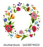 round flower frame for... | Shutterstock . vector #1633874023