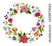 beautiful flower frame for... | Shutterstock . vector #1633874026
