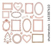 set of doodle frames and other... | Shutterstock . vector #163387610