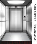 realistic elevator cabin with... | Shutterstock .eps vector #1633915099