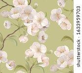 sakura seamless pattern. white... | Shutterstock .eps vector #1633959703