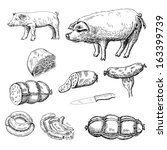 sausage. set of vector sketches | Shutterstock .eps vector #163399739