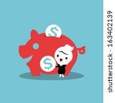 saving money with piggy bank | Shutterstock .eps vector #163402139