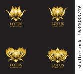 golden lotus flower logo....   Shutterstock .eps vector #1634033749