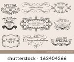 vector set of calligraphic... | Shutterstock .eps vector #163404266