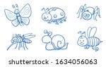 cute cartoon animals and... | Shutterstock .eps vector #1634056063