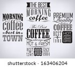 set of coffee   cafe label  set ... | Shutterstock .eps vector #163406204