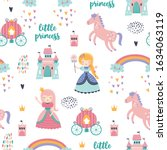 childish seamless pattern with... | Shutterstock .eps vector #1634063119