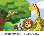 illustration of a forest with...   Shutterstock .eps vector #163406369