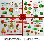 christmas icons set and...   Shutterstock .eps vector #163406993