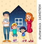 illustration of a family with... | Shutterstock .eps vector #163407854