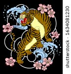 chinese tiger with cherry... | Shutterstock .eps vector #1634081230