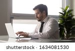 Small photo of Office worker on pc types business letter contact with client makes offers, check corporate mail, IT systems manager managing, planning, successful businessman launching online startup project concept