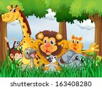 illustration of a forest with... | Shutterstock .eps vector #163408280