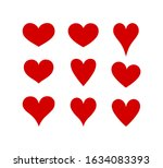 vector red hearts drawing... | Shutterstock .eps vector #1634083393
