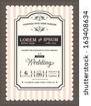 vintage wedding invitation... | Shutterstock .eps vector #163408634