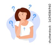 woman thinks. question.... | Shutterstock .eps vector #1634086960