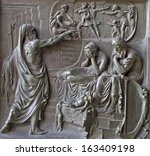 Small photo of PARIS, APRIL 11: Relief from Madeleine church - prophet and king Ahab - old testament scene from year 1837 by M. Triqueti on April 11, 2004, Paris.
