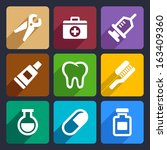dental flat icons set 9 | Shutterstock .eps vector #163409360