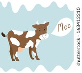 agriculture,animal,art,background,beautiful,blue,brown,card,cartoon,character,childish,color,country,cow,cute