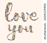 vector phrase love you with...   Shutterstock .eps vector #1634125903