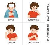 a boy get sick. he has high...   Shutterstock .eps vector #1634132959