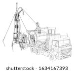 coiled tubing unit machine. the ... | Shutterstock .eps vector #1634167393