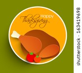 happy thanksgiving sticker  tag ... | Shutterstock .eps vector #163419698