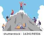 cartoon people climbing... | Shutterstock .eps vector #1634198506