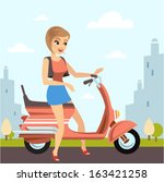 beautiful woman with her scooter | Shutterstock .eps vector #163421258
