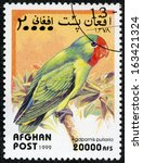 Small photo of AFGHAN - CIRCA 1999: A stamp printed in Afghan shows peony parrot (agapornis pullaria), circa 1999