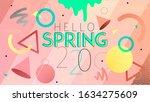 hello spring banner. trendy... | Shutterstock .eps vector #1634275609