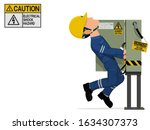 a worker is injured by the... | Shutterstock .eps vector #1634307373