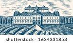 scenic view of vineyards.... | Shutterstock .eps vector #1634331853