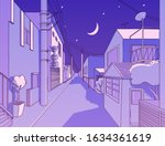 night asian street in... | Shutterstock .eps vector #1634361619