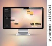 computer display with website... | Shutterstock .eps vector #163437368