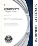silver certificate template.... | Shutterstock .eps vector #1634376640