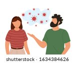 young man and woman passing... | Shutterstock .eps vector #1634384626