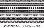 seamless borders set with... | Shutterstock .eps vector #1634386786