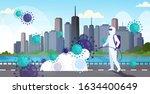 scientist in hazmat suit... | Shutterstock .eps vector #1634400649