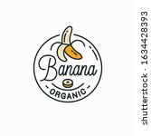 banana logo. round linear logo... | Shutterstock .eps vector #1634428393