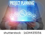 Small photo of Conceptual hand writing showing Project Planning. Business photo showcasing plan and subsequently report progress within the project.