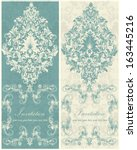 vintage damask invitation card | Shutterstock .eps vector #163445216