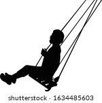 a girl swinging body silhouette ... | Shutterstock .eps vector #1634485603