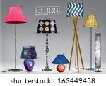 set of decorative color lamps.... | Shutterstock .eps vector #163449458