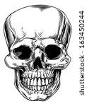 a vintage human skull or grim... | Shutterstock . vector #163450244