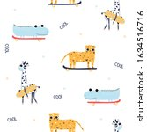 seamless pattern with animals... | Shutterstock .eps vector #1634516716