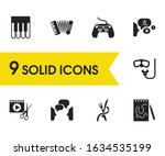 interests icons set with game...