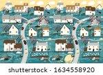 spring landscape  garden and...   Shutterstock .eps vector #1634558920